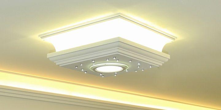 Styropor Stuckleuchte mit LED Streifen, LED Panel und LED Sternenhimmel