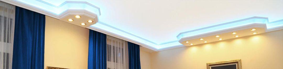 Styroporleisten mit direkter und indirekter Beleuchtung