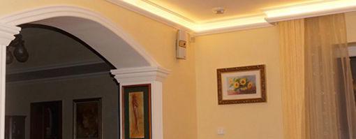 Stuckleisten für indirekte Beleuchtung zur Raumgestaltung