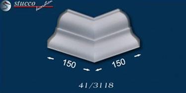 Einbaufertiges, inneres Eckelement für 90-Grad-Zimmerecken